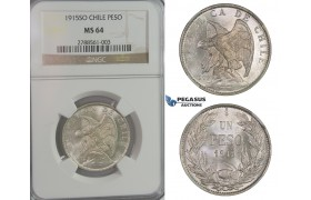 D01, Chile, Peso 1915-SO, Silver, NGC MS64