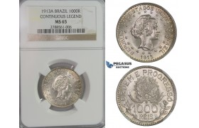D04, Brazil, 1000 Reis 1913-A (Continous Legend) NGC MS65 (Pop 1/4)