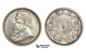 D14, South Africa (ZAR) 6 Pence (Sixpence) 1892, Silver, High Grade, minor cleaning!