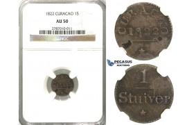 D18, Curacao, 1 Stuiver 1822, Silver, NGC AU50