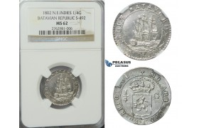 D25, N.E. Indies, Batavian Republic, 1/4 Gulden 1802, Silver, NGC MS62