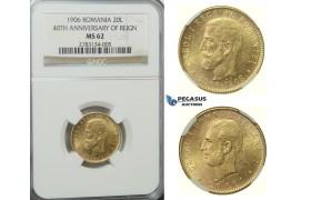 D34, Romania, Carol I, 20 Lei 1906, Gold, NGC MS62