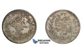D68, Turkey, Ottoman Empire, Abdülaziz, 20 Para AH1277/7, Silver, Toned TOP Grade!