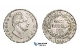 D81, British India, William IV, Rupee 1835 (RS Incuse) Silver