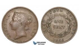 E11, Straits Settlements, Victoria, 1 Cent 1845, Nice!