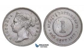 E12, Straits Settlements, Victoria, 1 Cent 1877, High Grade!