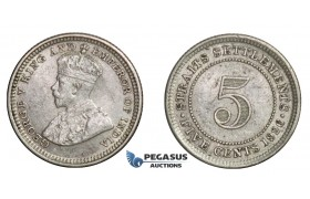 E16, Straits Settlements, George V, 5 Cents 1926, Silver, TOP Grade!