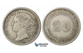 E21, Straits Settlements, Victoria, 20 Cents 1879-H, Silver, Rare!