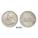 E22, Straits Settlements, George V, 20 Cents 1919, Silver, High Grade!