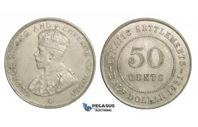 E25, Straits Settlements, George V, 50 Cents 1921, Silver, High Grade!