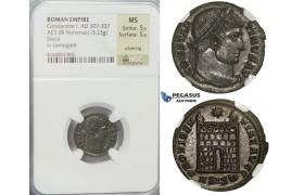 E59, Roman Empire, Constantine I (307-337) BL Nummus (3.23g) Siscia, Campgate, NGC MS