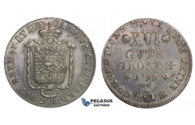E71, Germany, Braunschweig-Wolfenbüttel, XVI Groschen 1792-MC, Silver, Toned High Grade!