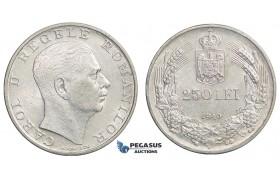 E78, Romania, Carol II, 250 Lei 1940, Silver, High Grade (Cleaned)