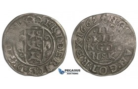 F02, Denmark, Frederik III, 2 Skilling 1665, Silver (0.70g) H. 134B, Partly weak struck