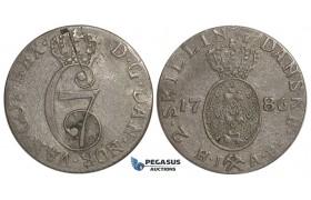 F09, Norway, Christian VII, 2 Skilling 1786-HIAB, Silver (1.22g) Nice