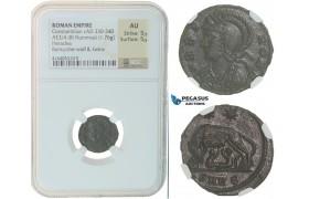F42, Roman Empire, Constantinian (330-340 AD) Æ Nummus (1.76g) Heraclea, She wolf, NGC AU