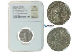 F43, Roman Empire, Probus (276-282 AD) Bi Aurelianianus (3.74g) Consular bust/Quadriga, NGC MS