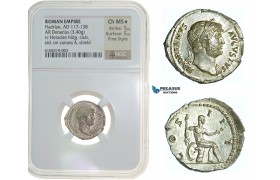 F73, Roman Empire, Hadrian (117-138 AD) AR-Denarius (3.40g) Rome, Hercules, NGC Ch MS* Star, Fine Style!