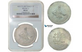 F74, Ottoman Empire, Turkey, Mustafa III, Piastre AH1171/87, Islambul, Silver, NGC MS61