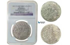 F75, Ottoman Empire, Turkey, Mustafa III, Zolota AH1171/85, Islambul, Silver, NGC AU Det.