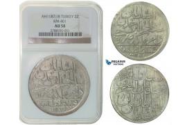 F78, Ottoman Empire, Turkey, Abdül Hamid I, 2 Zolota AH1187/8, Qustantiniya, NGC AU58
