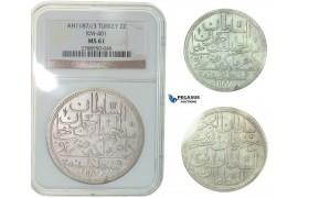 F81, Ottoman Empire, Turkey, Abdül Hamid I, 2 Zolota AH1187/3, Qustantiniya, NGC MS61