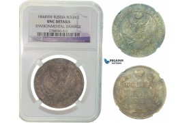 F86, Russia, Nicholas I, Rouble 1844 MW (Warsaw) Silver, NGC UNC Det.
