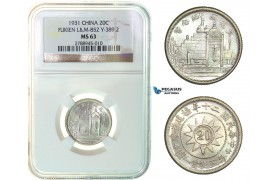 F93, China, Fukien, 20 Cents 1931, Silver, NGC MS63