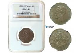 G02, Romania, Carol I, 5 Bani 1884, Bucharest, Copper, NGC MS63BN