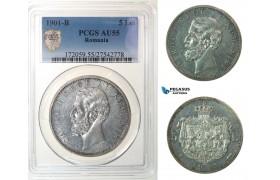 G09, Romania, Carol I, 5 Lei 1901, Hamburg, Silver, PCGS AU55