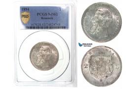 G33, Romania, Carol I, 2 Lei 1894, Brussels, Silver, PCGS Secure MS62, Rare Grade!
