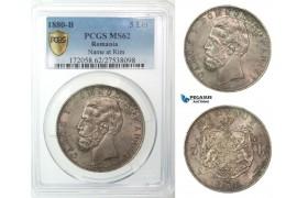 G34, Romania, Carol I, 5 Lei 1880, Bucharest (Name by rim) Silver, PCGS Secure MS62, Rare Grade!
