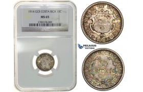 G53, Costa Rica, 10 Centimos 1914-GCR, Silver, NGC MS65 (Pop 1/2)