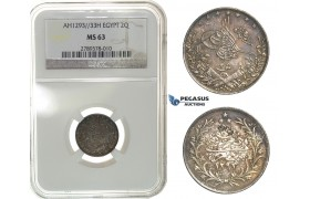 G54, Ottoman Empire, Egypt, Abdül Hamid II, 2 Qirsh AH1293/33-H, Heaton, SIlver, NGC MS63