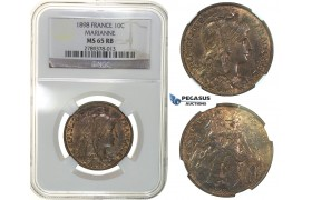 G57, France, 3rd Republic, 10 Centimes 1898, NGC MS65RB