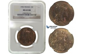G58, France, 3rd Republic, 10 Centimes 1903, NGC MS65RB