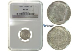 G61, France, Napoleon III, 50 Centimes 1854-A, Paris, Silver, NGC MS65