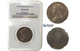 G69, Hong Kong, Victoria, 1 Cent 1876, NGC MS63BN (Pop 1/2)