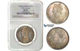 G73. India, British, Victoria, Rupee 1862-B, Bombay, Silver, NGC MS63 (Pop 1/2)