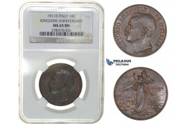 G74, Italy, Vit. Emanuele III, 10 Centesimi 1911-R, Rome, NGC MS65BN