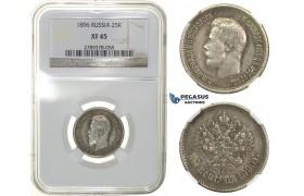 G97, Russia, Nicholas II, 25 Kopeks 1896, Silver, NGC XF45