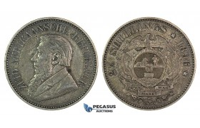 H05, South Africa (ZAR) 2 1/2 Shillings 1896, Dark Toning! Uncleaned!