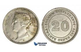 H10, Straits Settlements, Victoria, 20 Cents 1879-H, Heaton, Faint Hairlines, TOP Grade!