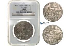 H14, Ottoman Empire, Turkey, Mustafa III, Zolota AH1171/6, Islambul, NGC MS65, Rare!