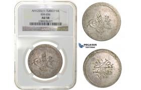 H21, Ottoman Empire, Turkey, Abdülmecid, 3 Kurush AH1255/1, Qustantiniya, NGC AU58