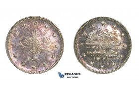H27, Ottoman Empire, Turkey, Mehmed V, 2 Kurush AH1327/1, Proof!