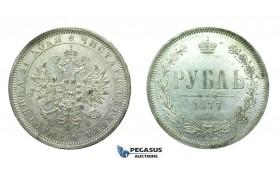 H34, Russia, Alexander II, Rouble 1877 СПБ-НІ, Silver, Mint Lustre, High Grade!
