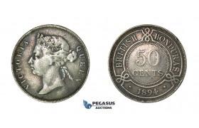 H40, British Honduras, Victoria, 50 Cents 1894, Silver, Dark Toning!