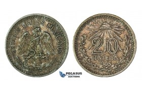 H46, Mexico, 20 Centavos 1905, Silver, Rainbow Toned High Grade!