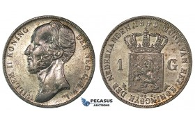 H49, Netherlands, Willem II, Gulden 1846, Lis, Silver, Mint Lustre, High Grade!